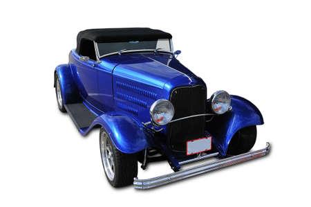 Blue klassieke auto met alle markering verwijderd en geïsoleerd op wit
