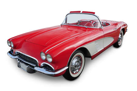 coche clásico: Classic coche deportivo rojo convertible aisladas en blanco
