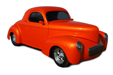 hot rod: Classic hot rod isolated on white