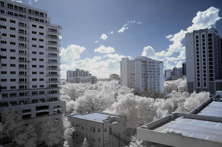 Infrared shot of cityscape from high vantage point