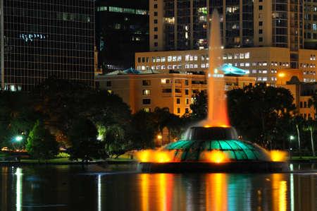 Lake Eola fontein in dowtown Orlando, FL Stockfoto