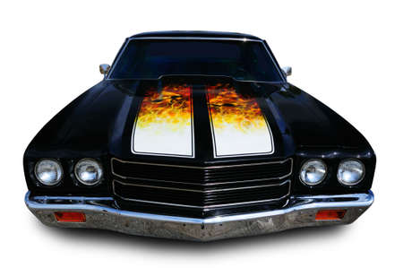 hotrod: Classic muscle car isolated  Stock Photo