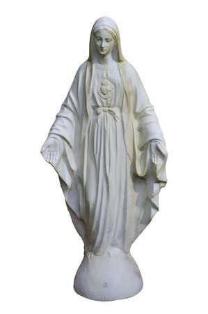 Een standbeeld van de maagd Maria, geïsoleerd op wit met clipping path Stockfoto