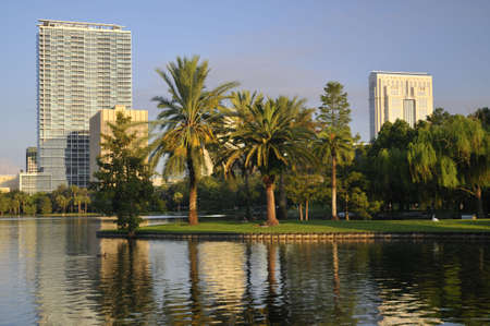 Shot of some downtown Orlando buildings taken from Lake Eola Park