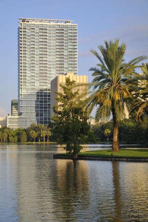 Shot van de gebouwen in het centrum van Orlando met palm bomen op de voorgrond  Stockfoto