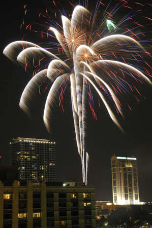 Fireworks on the fourth of July over Lake Eola in Downtown Orlando, Florida Stock Photo - 6338672