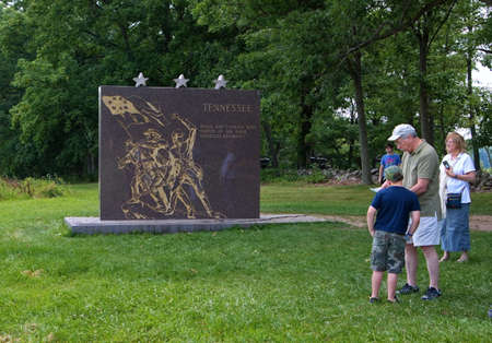 Gettysburg, PA USA. Jul 2015. Elderly couple with grandson touring the battlefields at the Gettysburg National Military Park.