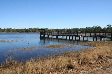 springs: dock at Defuniak Springs, lakeyard Stock Photo