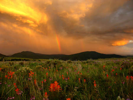 Rainbowsat sunset, Eagle Nest, New Mexico