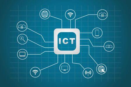 Vecteur d'icônes des technologies de l'information et de la communication (TIC)