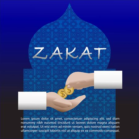 Zakat vector. Islamic content vector. Zakat is the sharing of wealth from the rich for the less fortunate Illustration