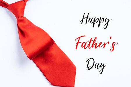 Happy Father's Day greetings with neck tie on white background