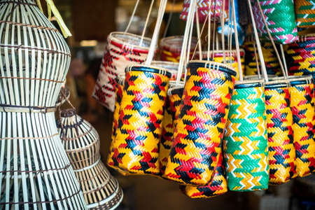 Sarawak Traditional Handicraft. Usually sold at the shops along the Main Bazaar Street, Kuching for tourist to bring home as souvenir,selective focus