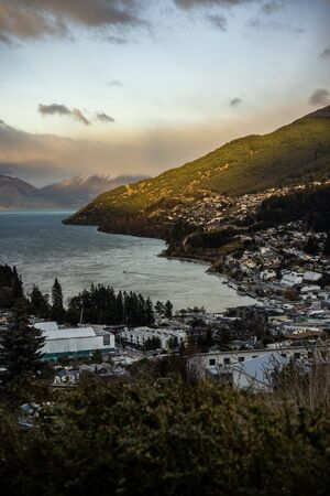 Scenic view of Queenstown, New Zealand during sunset