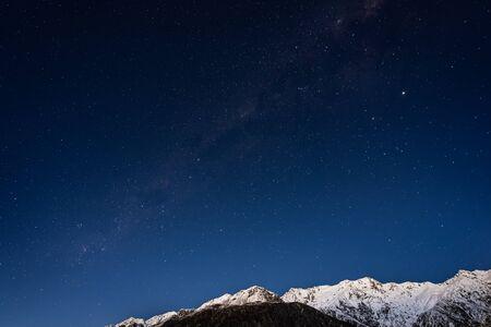 Starry night with Milky Way at Aoraki National Park, South Island, New Zealand
