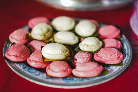 Ang Koo Kueh, a traditional sarawak chinese delicacies that is made up of glutinous rice, peeled green bean and sugar.