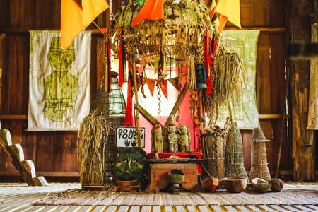 The interior of traditional Melanau People house, one of the ethnic in Sarawak at Sarawak Cultural Village