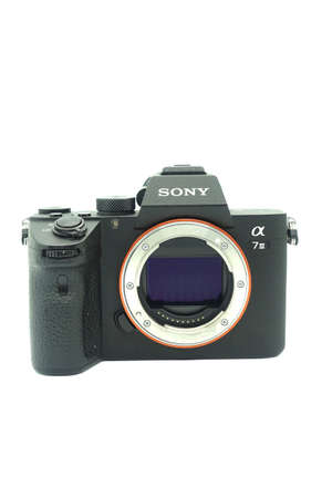 Sony A7 mark iii against isolated white background. This 2018 mirrorless camera of the year is a fullframe mirrorless camera with a very compact size