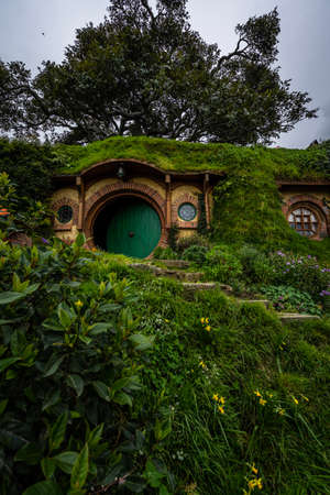 Hobbiton movie set for The Lord of The Rings in Matamata, New Zealand