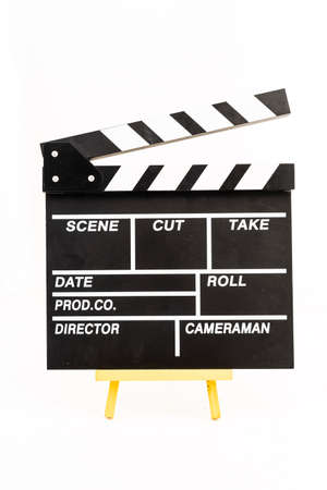 Clapperboard isolated against white background