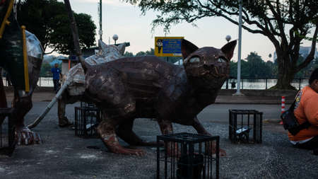 Exterior of the Cats monument in downtown Kuching, Malaysia. Due to abundance of cats in the area Kuching is often called