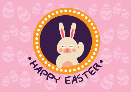 Happy Easter Day Pink Egg Patterns Style Vettoriali
