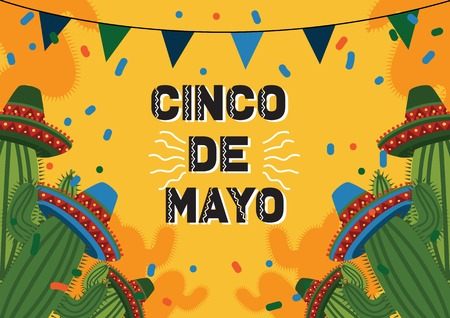 Cinco De Mayo Celebration Background with Cactus And Mexican Hat Illustration