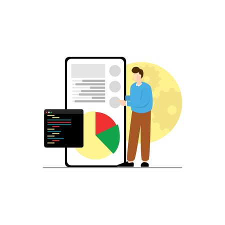 man talks about data cute vector illustration