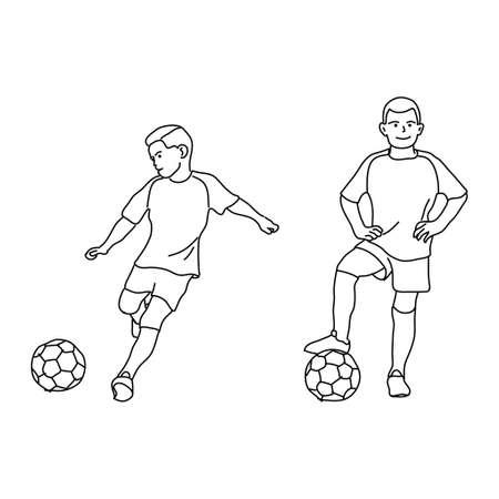 Children Play Football Mono line Style Illustration