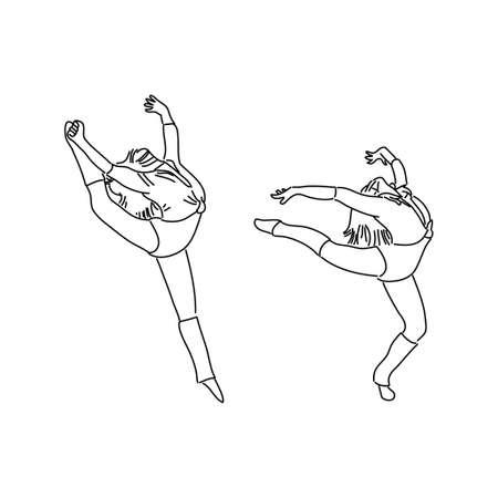 Ballerina Monoline Style Illustration 矢量图像
