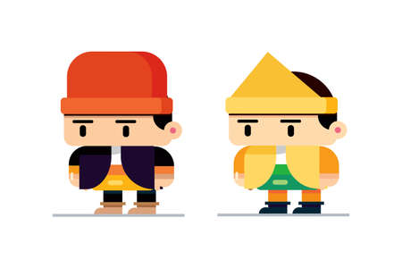 Indonesian cartoon character in traditional dress for Business, design etc