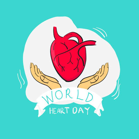 World heart day. Cute Earth globe holding funny cartoon heart. This vector design is  can be used for business, templates and more. easy to use and edit