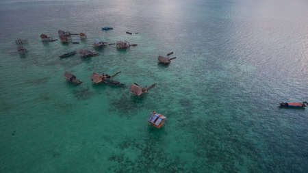 small tribe community practice nomad life within shallow water Philippine, Indonesia and Malaysia