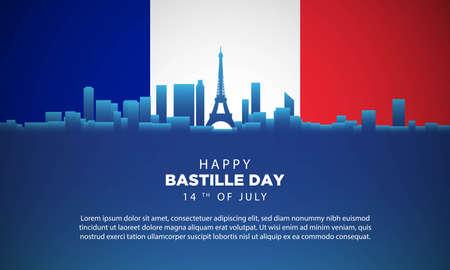 Bastille Day Background with Paris City Landscape. Vector Illustration  イラスト・ベクター素材
