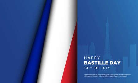 Bastille Day Background with Paris City Landscape. Vector Illustration