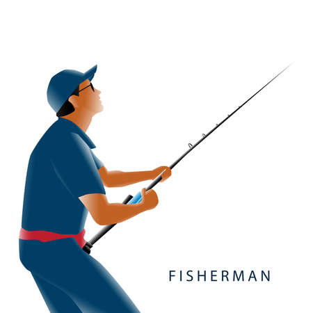 Vector Illustration of Fisherman on White Background.