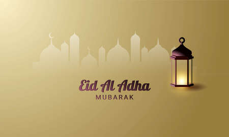 Eid Al Adha Background. Fit for greeting card, wallpaper and other. Vector Illustration. Vetores