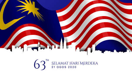 Malaysia Independence Day Background. Translate : Happy Independence Day. August 31, 2020. Vector Illustration