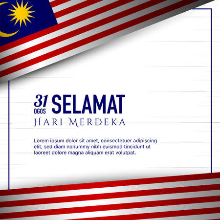 Malaysia Independence Day Background. Translate : Happy Independence Day, 31th of August. Vector Illustration 矢量图像