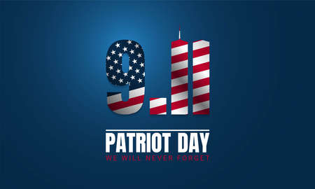Patriot Day Background with USA Flag. Vector Illustration Vettoriali