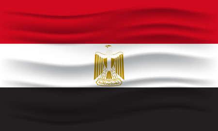 Flag of Egypt. Illustration of waving Egypt flag. Vector Illustration.