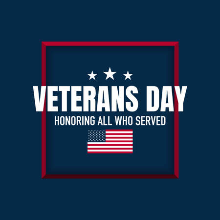 Veterans Day Background. Honoring All Who Served. Vector Illustration. Vettoriali