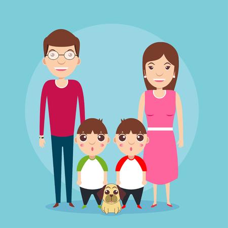 Family kids boys twins vector design illustration