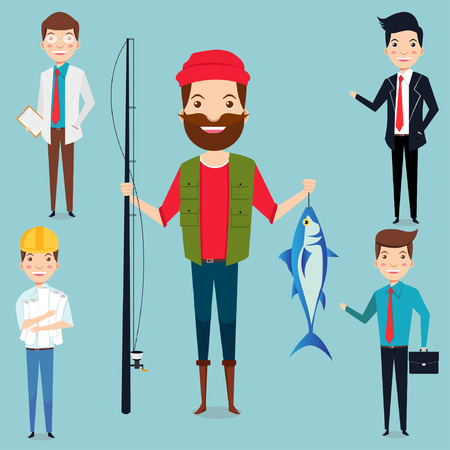 People different professions vector illustration fisherman, doctor, architect, office worker, and enterpreneur Illustration