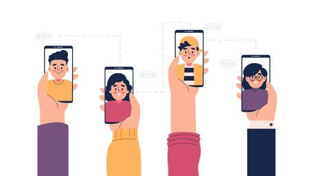 Set hand holding smart phone and make a video call vector illustration Vector Illustratie