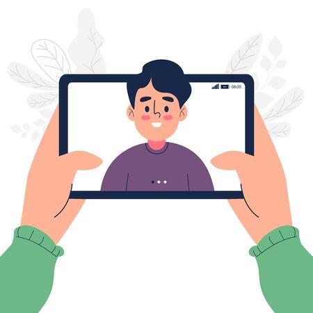 Video chatting online on tablet vector illustration Vector Illustration