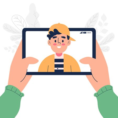Set hand holding tablet and make a video call vector illustration