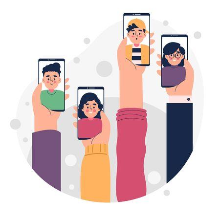 Friends video calling concept vector illustration