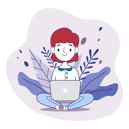 Female freelancer working remotely freelance concept vector illustration Vektoros illusztráció