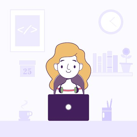 Women working laptop freelancer home workplace vector flat illustration